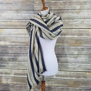 NWT Zara Cream Beige Blue Striped Blanket Scarf